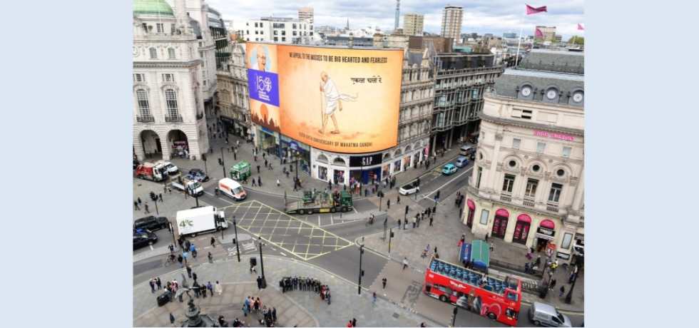 Projection of Bapu's life and messages at iconic Piccadilly Circus in London
