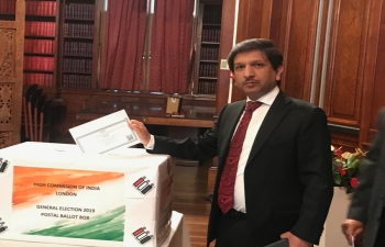 General Election Postal Ballot Box at High Commission of India London on 08-05-2019.