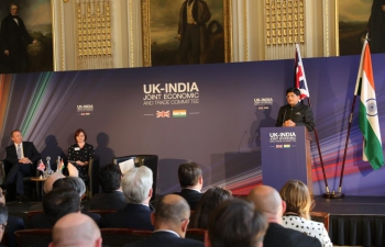 Mr. Piyush Goyal, Hon. Minister of Railways and Commerce & Industry at the Plenary Session of Joint Economic and Trade Committee between India & UK on 15/07/2019.