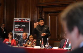 Mr. Piyush Goyal, Hon. Minister of Railways and Commerce & Industry meeting with the business entities in the UK about ease of doing business in India. 15/07/2019.