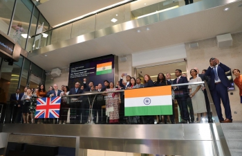 Mr. Piyush Goyal, Hon. Minister of Railways and Commerce & Industry at the market opening ceremony at London Stock Exchange on 16/07/2019.