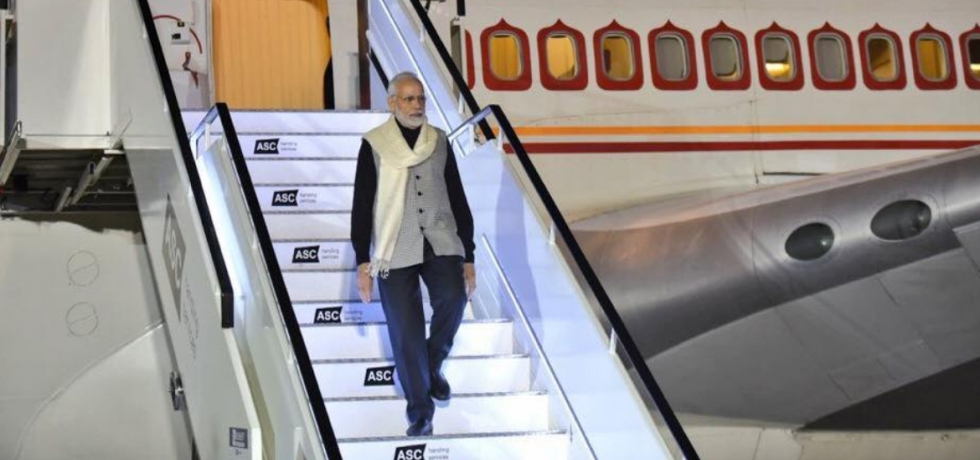Arrival of P M Narendra Modi for Commonwealth Heads of Government Meeting (CHOGM), London.
