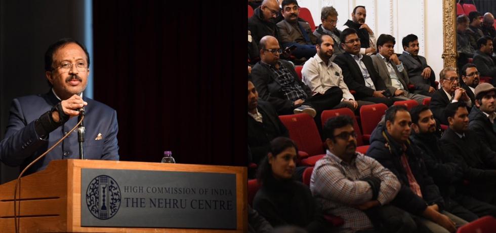 Shri V Muraleedharan, Hon'ble Minister of State for External Affairs addressing Indian Diaspora at The Nehru Centre London.