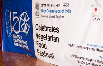 To celebrate 150th Birth Anniversary of Mahatma Gandhi HCI organised a Vegetarian Food Festival at Swami Narayan Temple, Neasden, London