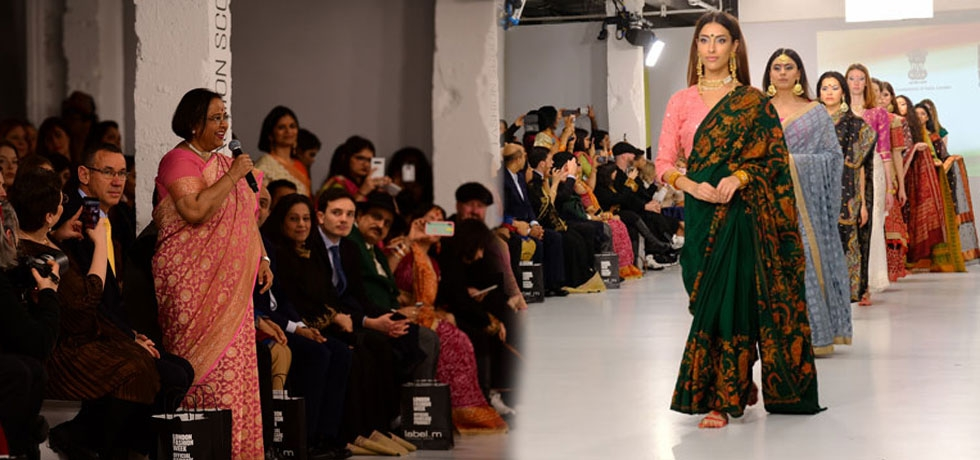 HCI celebrated 'India Day' at London Fashion Week showcasing sarees of Indian states