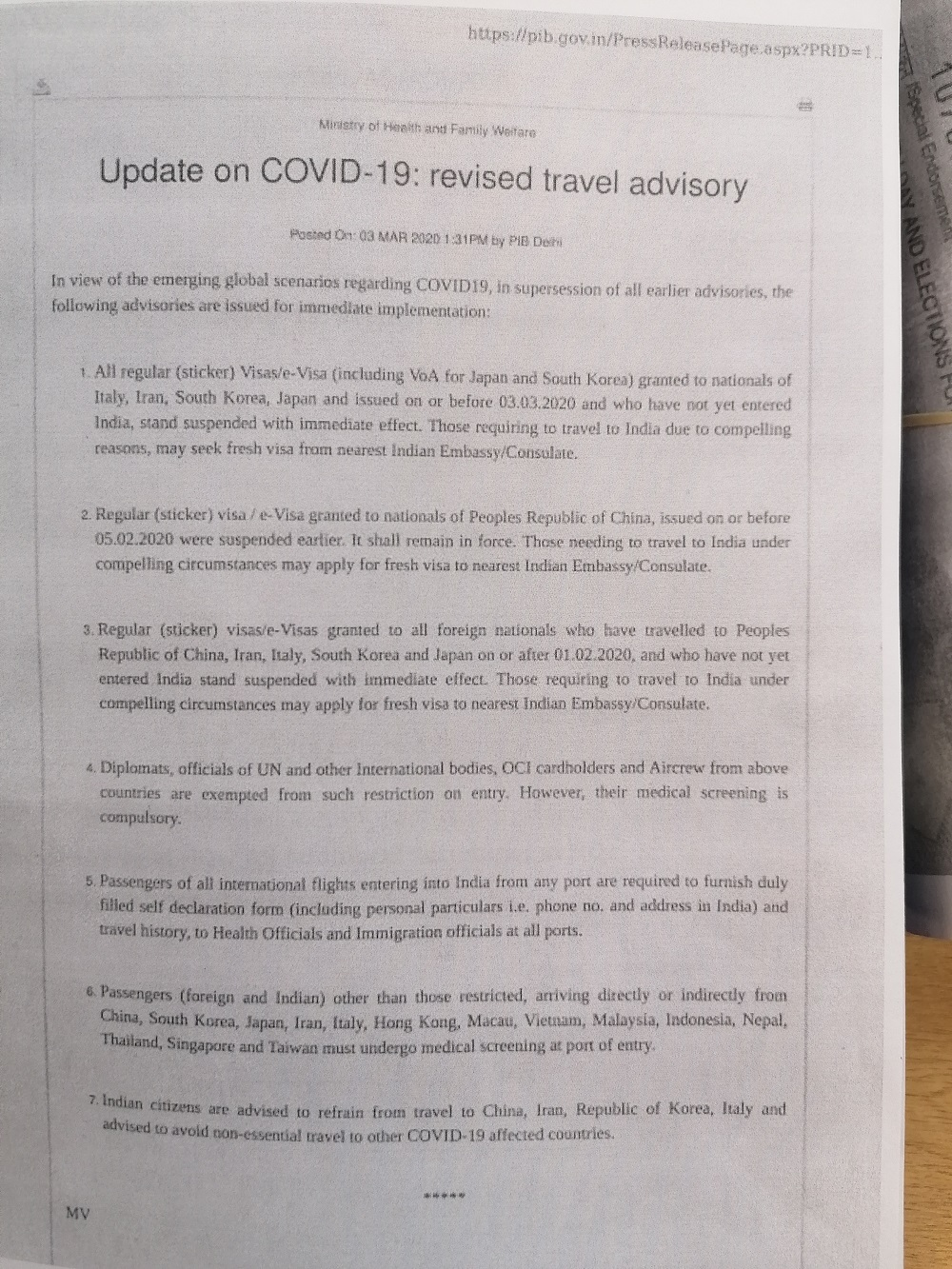 COVID- 19: Travel Advisory 3.3.2020