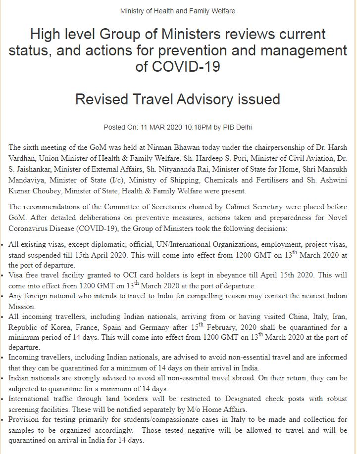 Travel advisory for all those intending to travel to India, including Indian citizens and OCI card holders, 11.3.2020