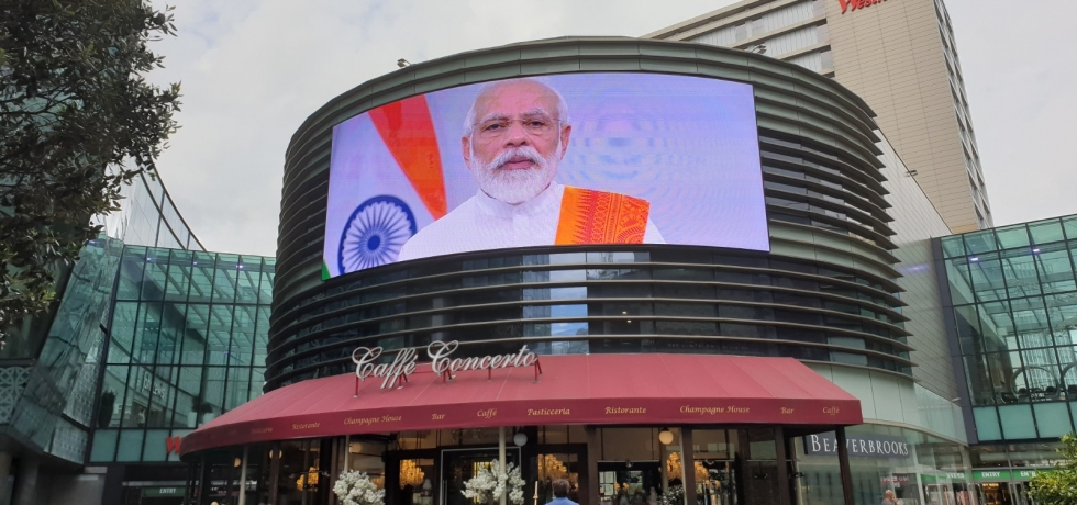 High Commission of India organized digital projection on 6th International Day of Yoga at Four Dials BIG SCREEN @ Westfield Stratford City, London