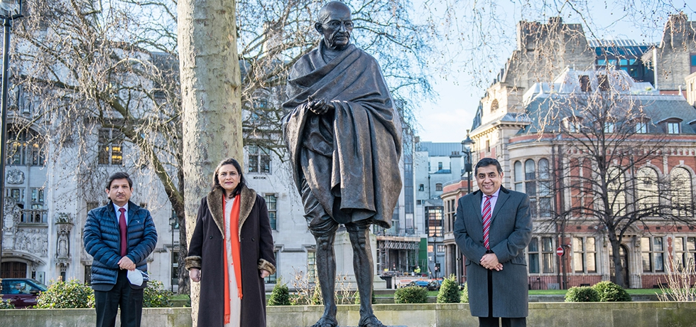 High Commission of India pays tribute to Mahatma Gandhi on Martyrs Day at Parliament Square, London.