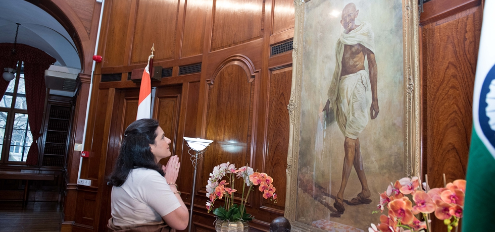 High Commission of India pays tribute to Mahatma Gandhi on Martyrs Day at India House, London.