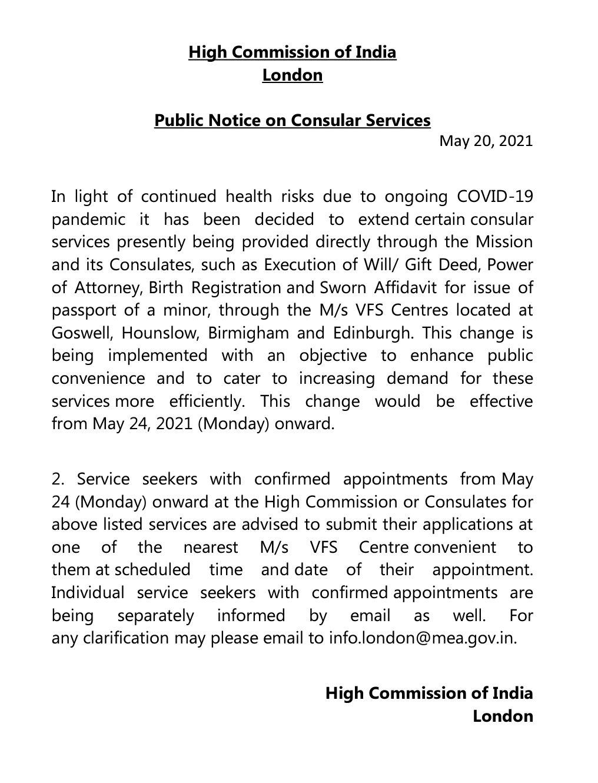 Public Notice on Consular Services